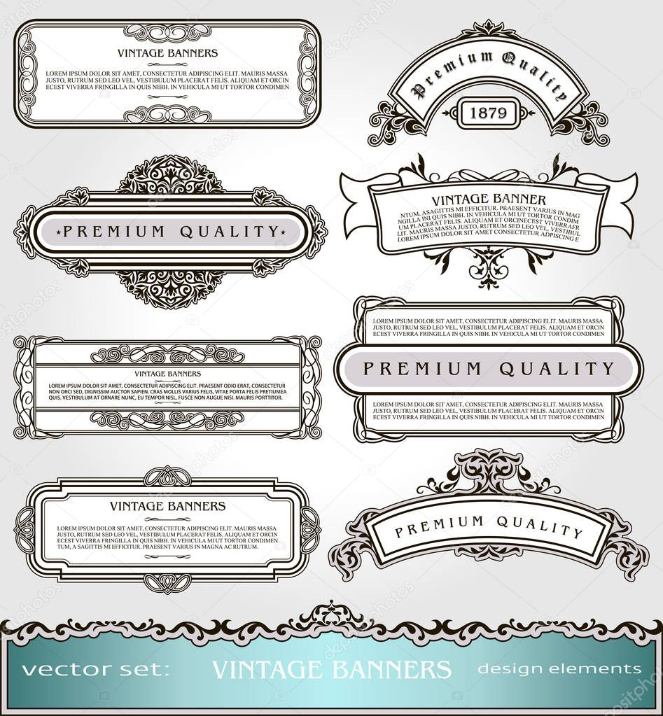 Vector Vintage Banners,Borders and Frames set, Victorian book covers and pages decorations