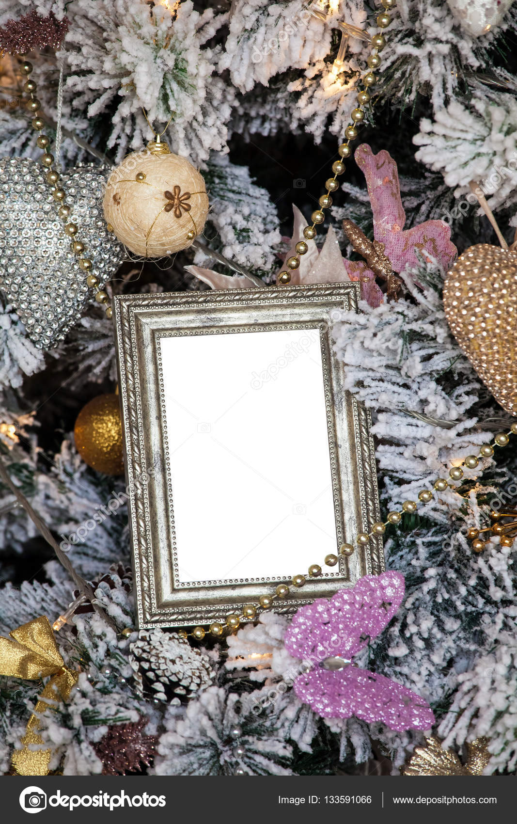 Fotorahmen aus Weihnachten dekoriert Hintergrund — Stockfoto ...