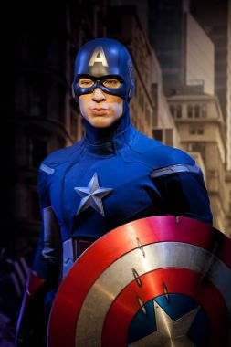 Wax figure of Chris Evans as Captain America in Madame Tussauds Wax museum in Amsterdam, Netherlands