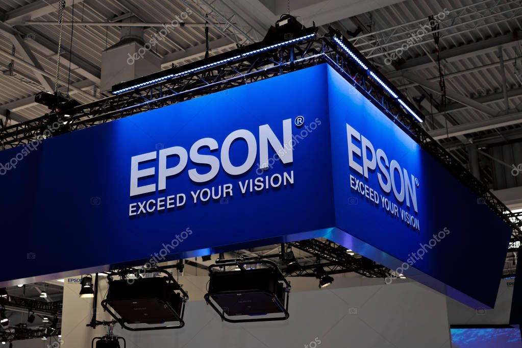Epson company logo sign on exhibition fair Cebit 2017 in Hannover Messe, Germany