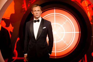 Wax figure of Daniel Craig as James Bond 007 agent in Madame Tussauds Wax museum in Amsterdam, Netherlands