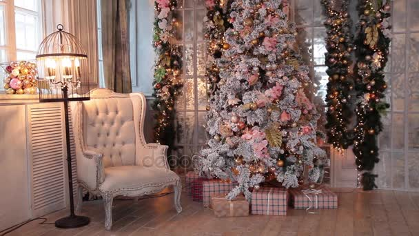 White classic Christmas and New Year interior
