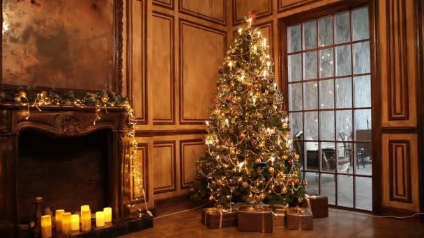 Nový rok strom a Vánoční pozadí