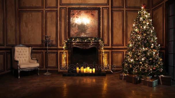Nový rok strom ozdoben interiér pokoje v klasickém stylu
