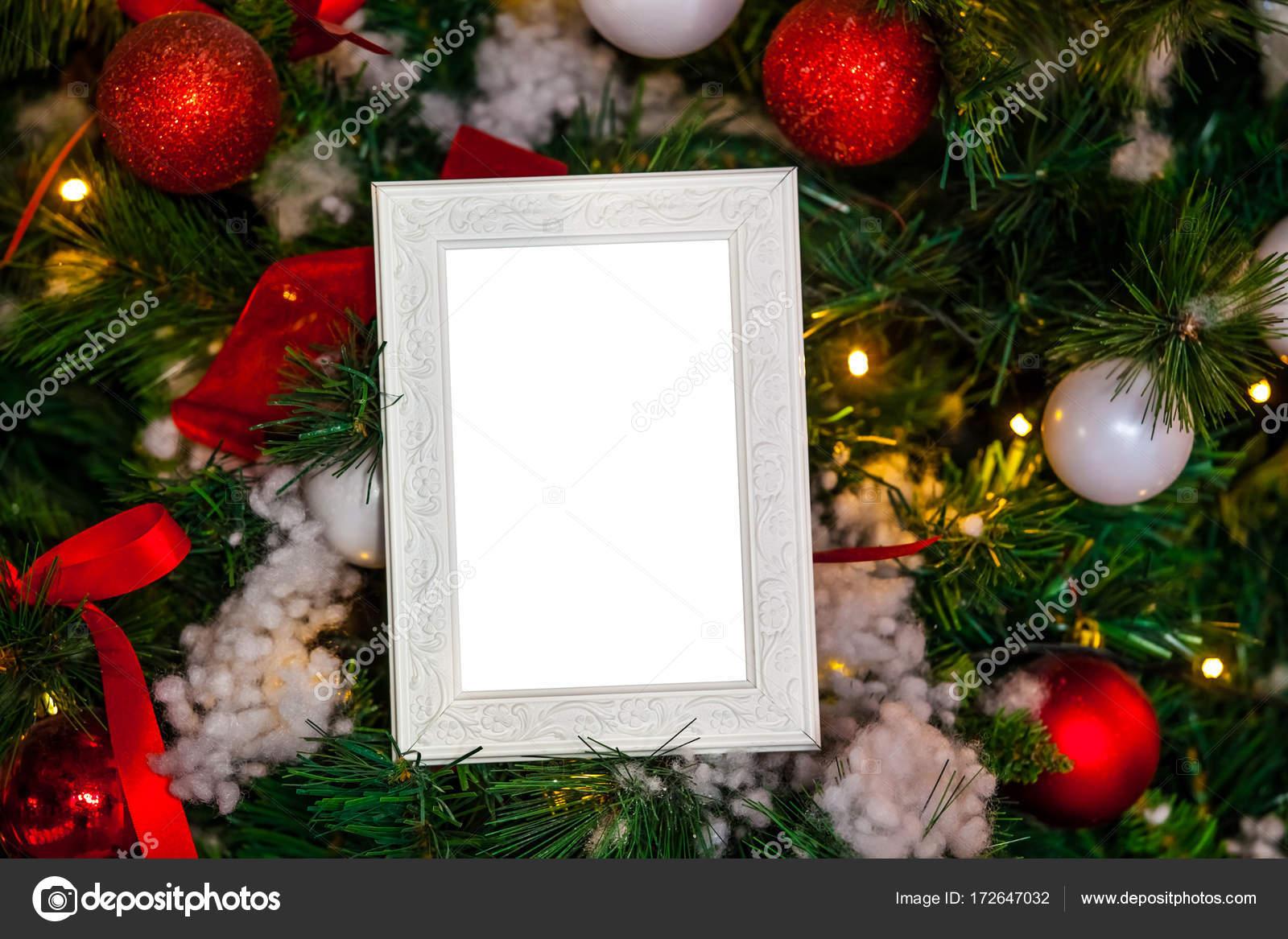 Fotorahmen Weihnachten.Fotorahmen Aus Weihnachten Dekoriert Hintergrund Stockfoto