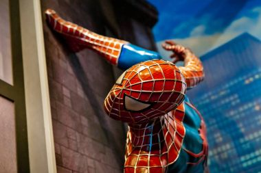 Spiderman Marvel comics in Madame Tussauds Wax museum in Amsterdam, Netherlands