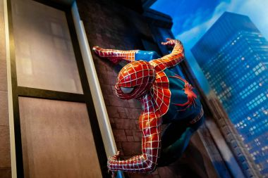 Spiderman Marvel comics in Madame Tussauds Wax museum in Amsterdam, Netherlands