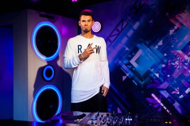 Wax figure of Dutch DJ, record producer and remixer Afrojack in Madame Tussauds Wax museum in Amsterdam, Netherlands