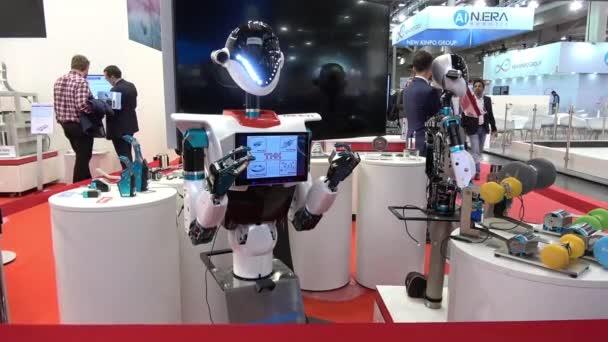 Robot at the booth of THK on Messe fair in Hannover, Germany