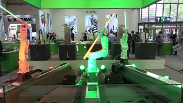 Star Wars robotics fighting on Hiwin stand on Messe fair in Hannover, Germany