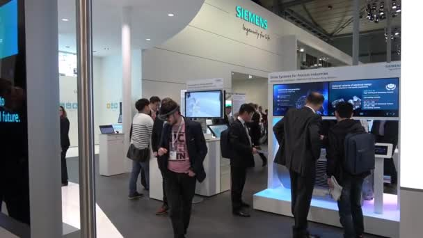 Siemens stand on Messe fair in Hannover, Germany