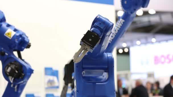 Yaskawa Motoman Robot Arm Rotating On Messe Fair In Hannover