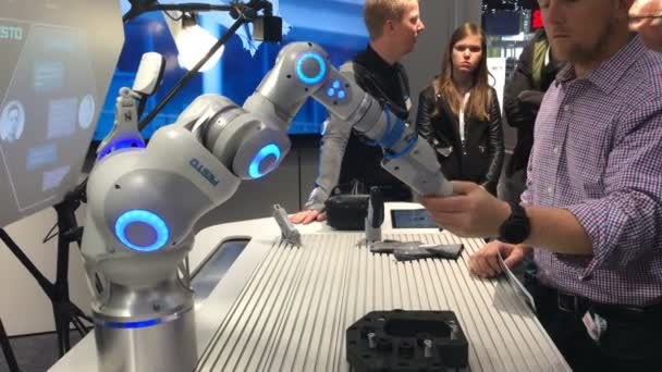 Festo presenting bionic workplace on Messe fair in Hannover, Germany