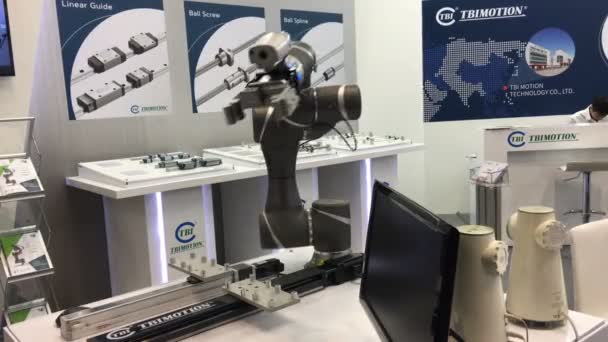 Automatic controlling machine in robot industry on TBI motion stand on Messe fair in Hannover, Germany