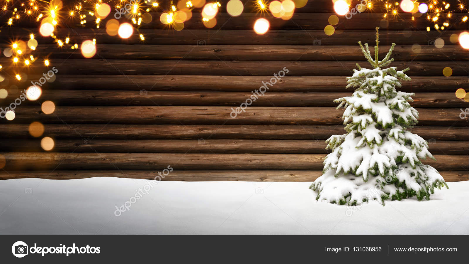 Christmas Frame With Fir Tree Wood Snow And Lights Stock Photo