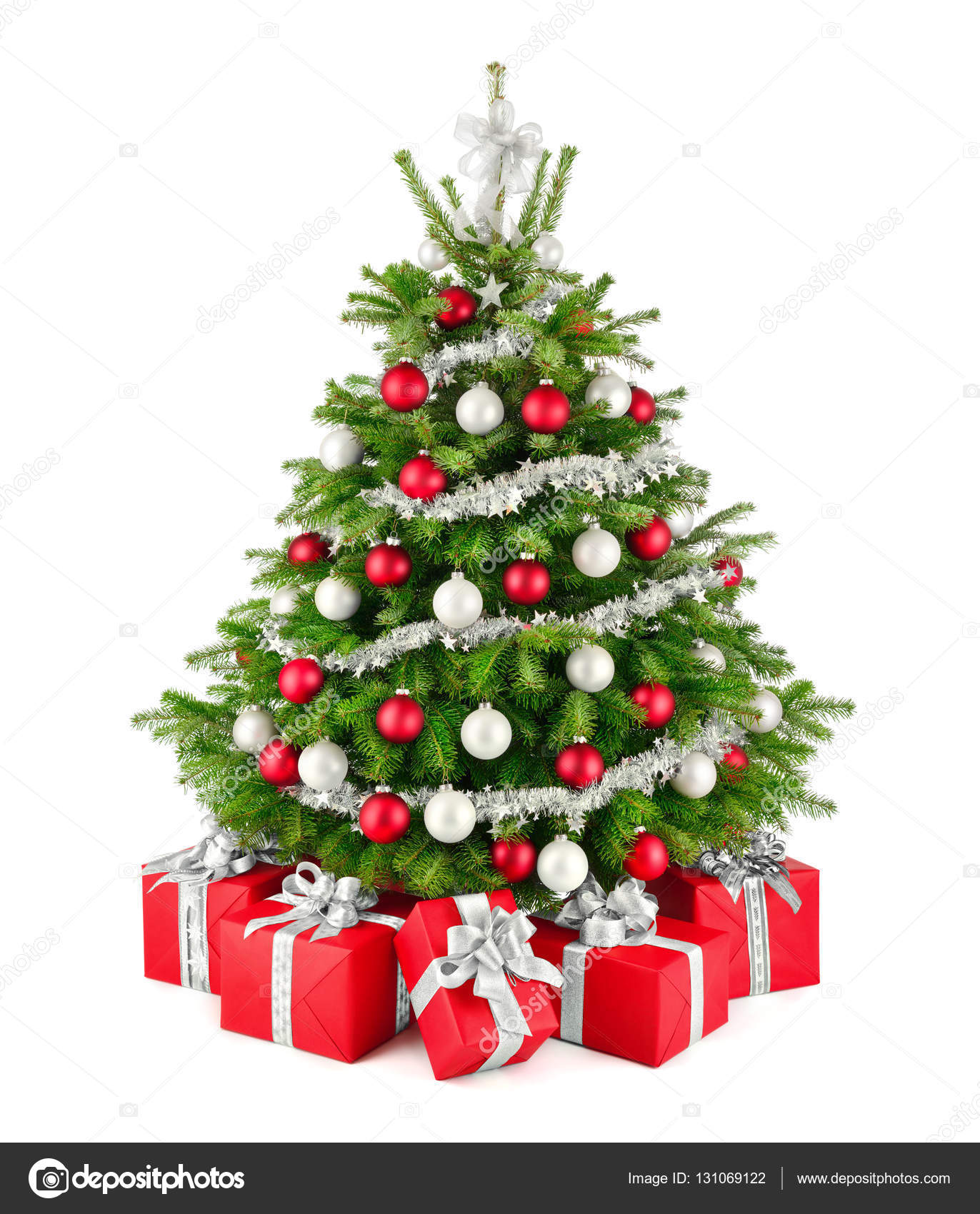 Christmas tree and ts in red white and silver — Stock