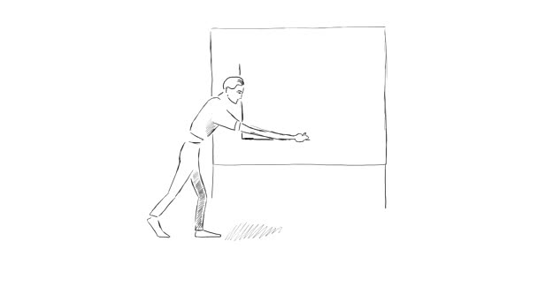 Animation of a man drawing a graph on a blackboard