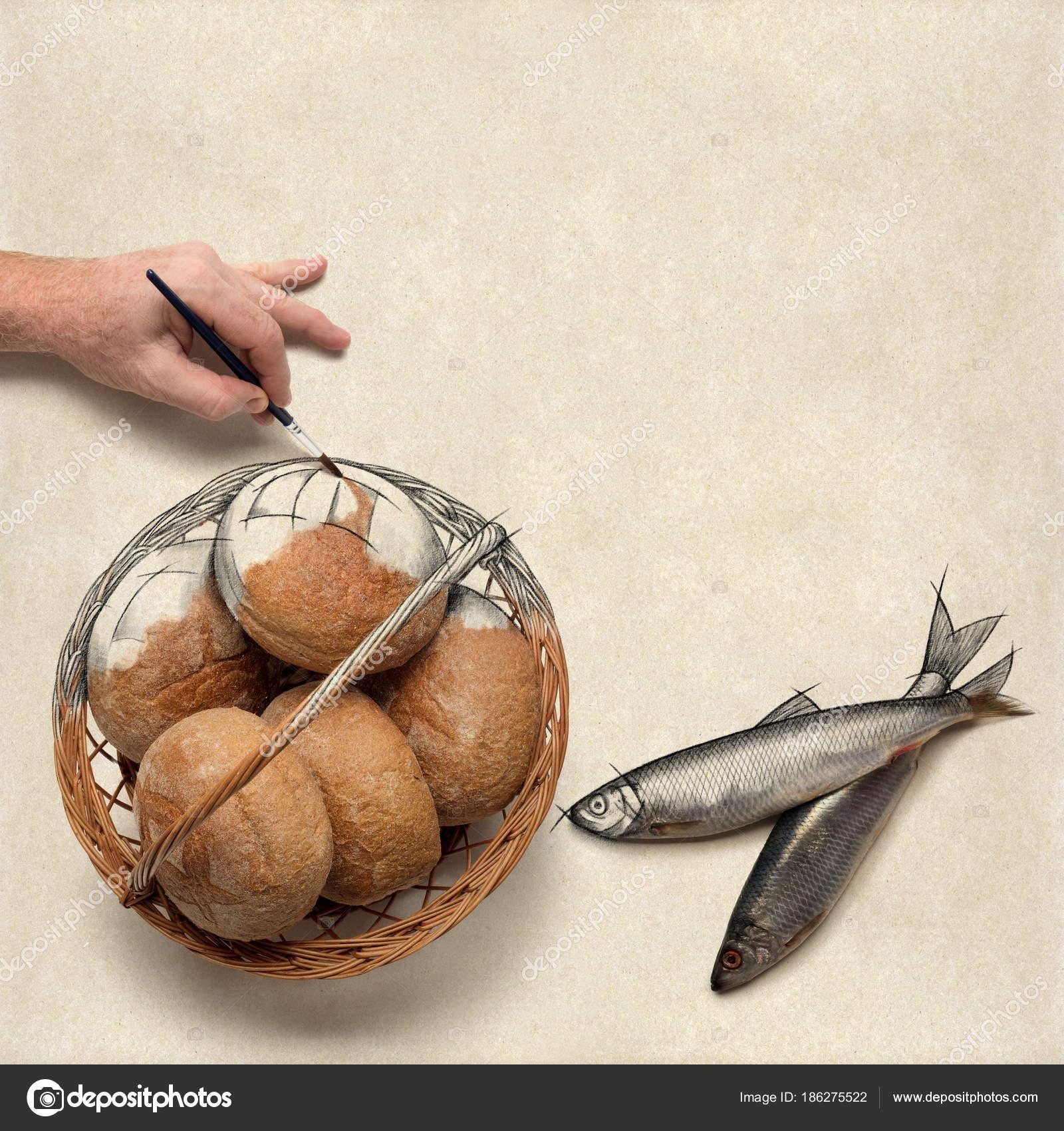 Beş Küçük Arpa Somun Ve Iki Küçük Balık Boyama Stok Foto