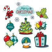 Veselé Vánoce šťastný svátek ilustrace sada