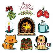 Fényképek Hangulatos téli szett, boldog holiday illusztráció gyűjtemény