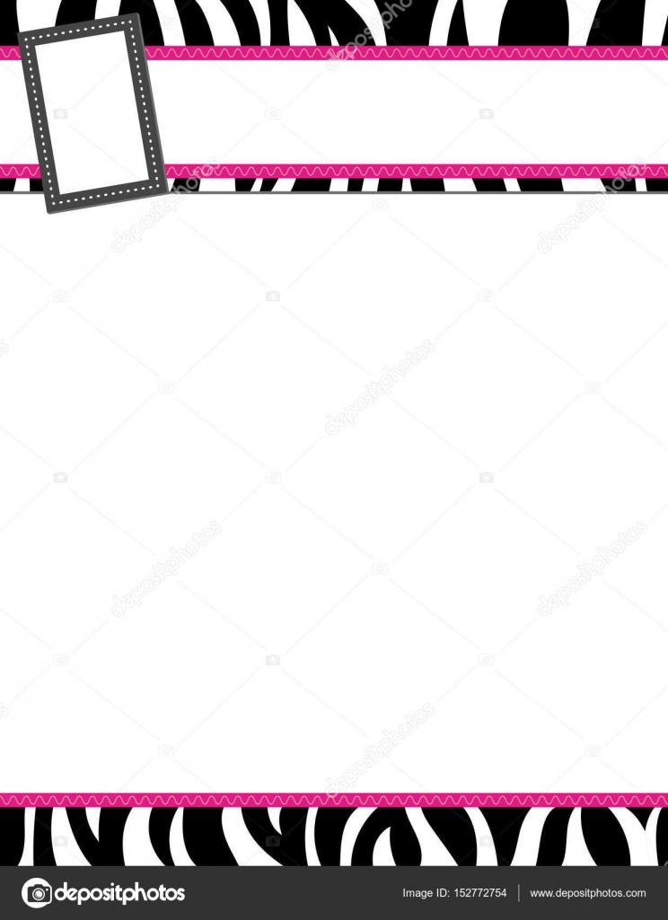 Cebra Rayas negro y rosa marco — Vector de stock © JamieJay #152772754