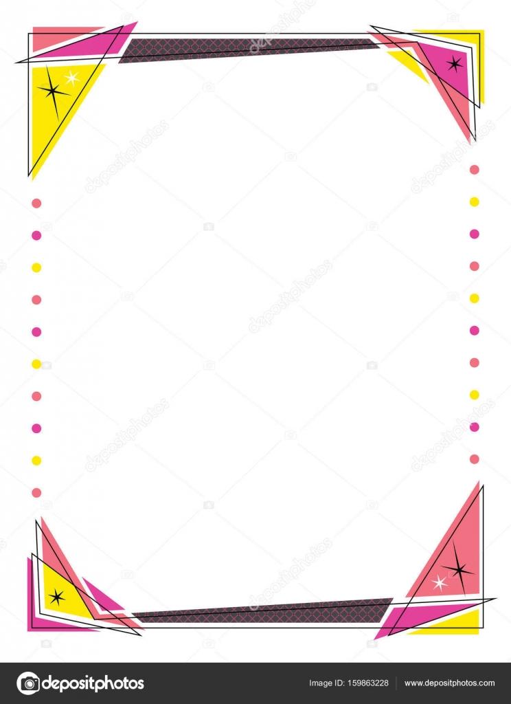Marco retro diseño con triángulos y luces de círculo — Vector de ...