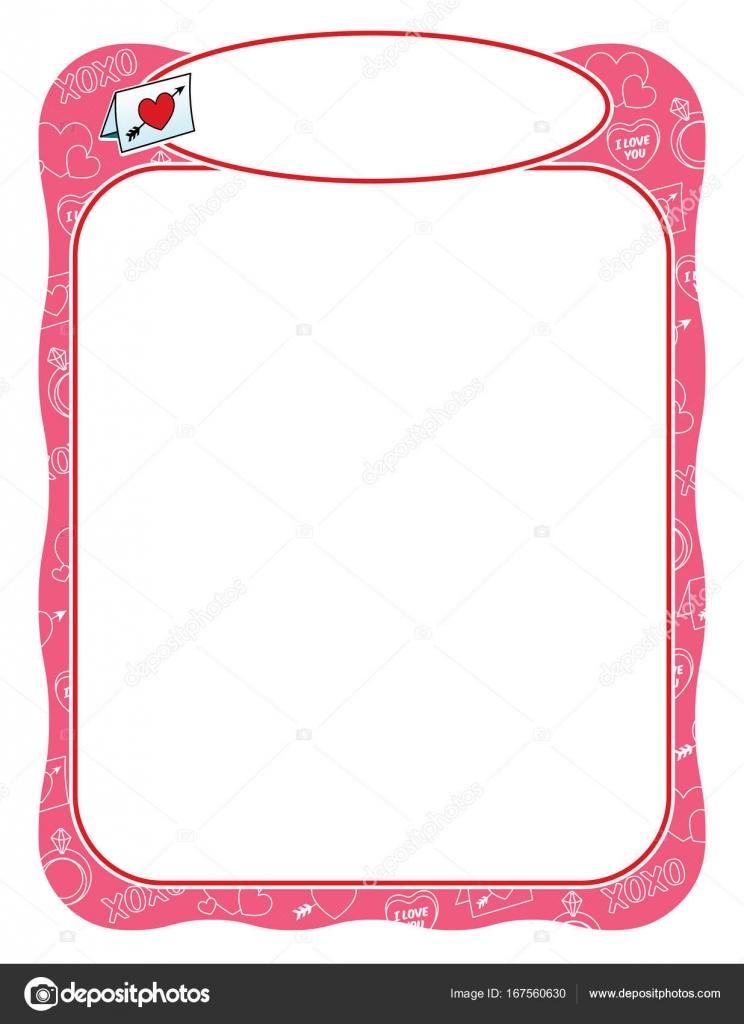 Valentine-Rahmen mit Liebesbrief, rosa und wellig — Stockvektor ...