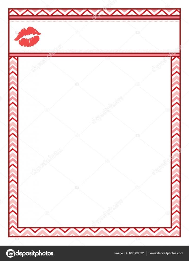 Valentine-Rahmen mit Kuss Lippen, rot und Fett — Stockvektor ...
