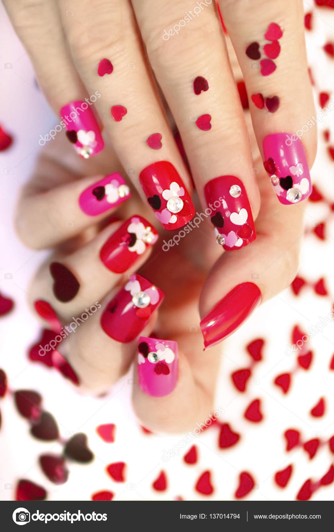 Nail Designs With Hearts Stock Photo Marigo 137014794