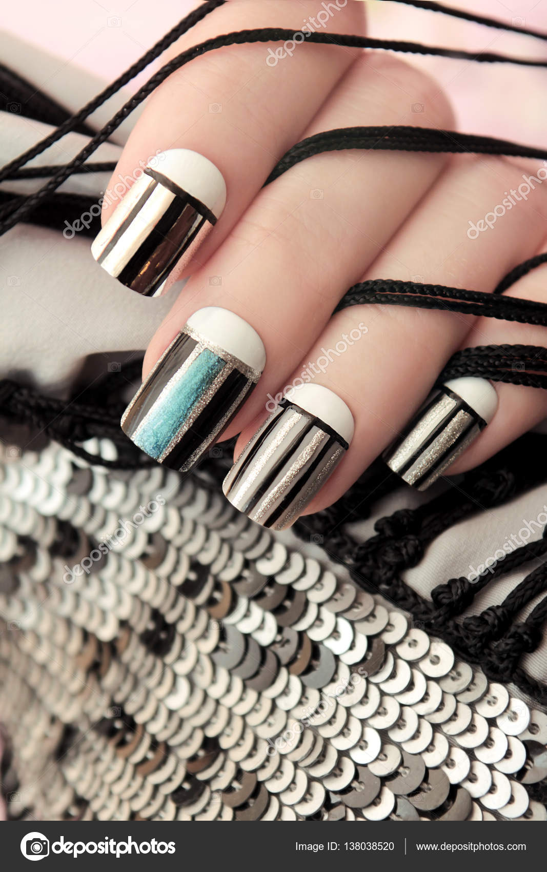 Gray Striped Nail Design Stock Photo Marigo 138038520