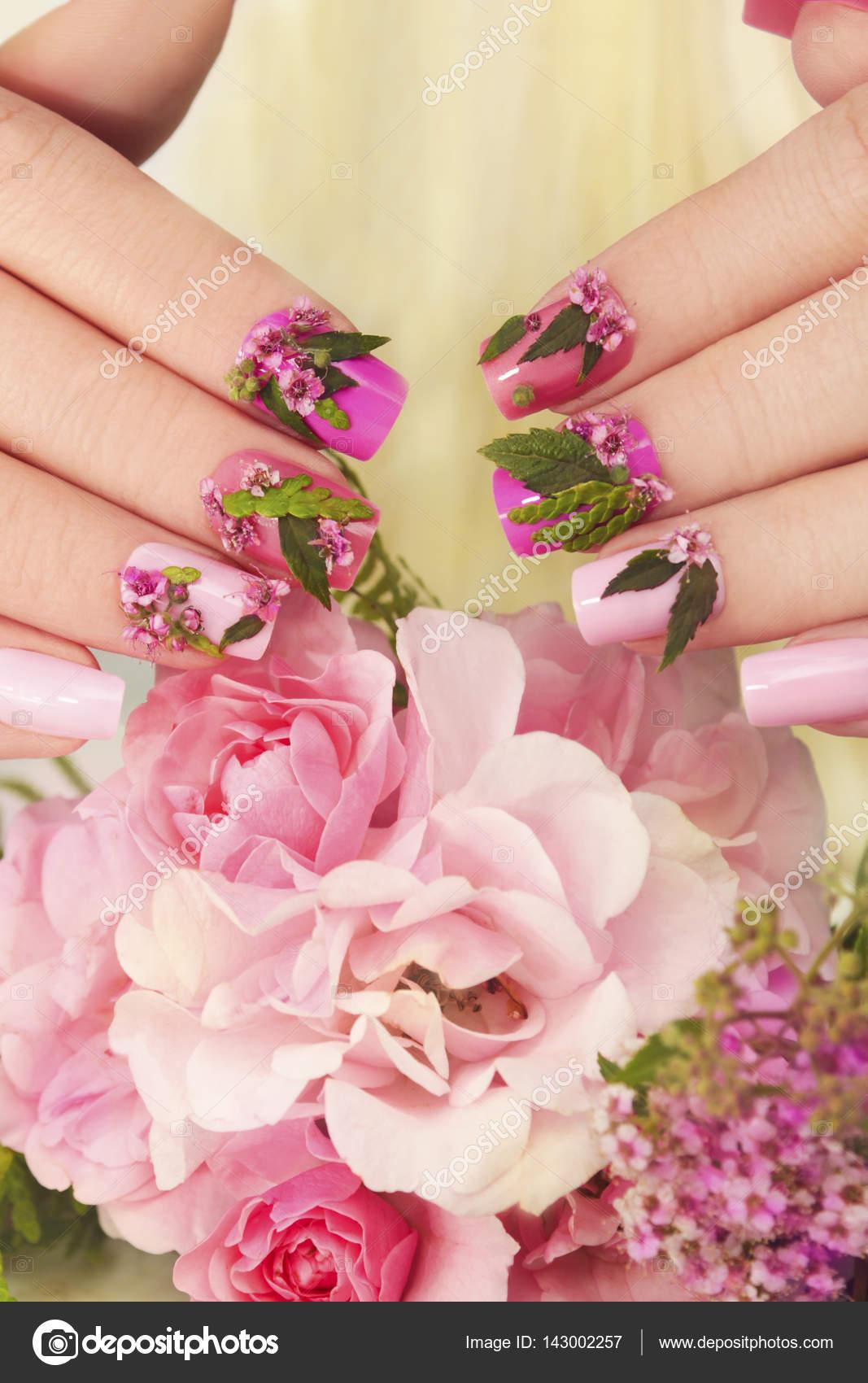 Pink Pastel Nails Design Stock Photo Marigo 143002257