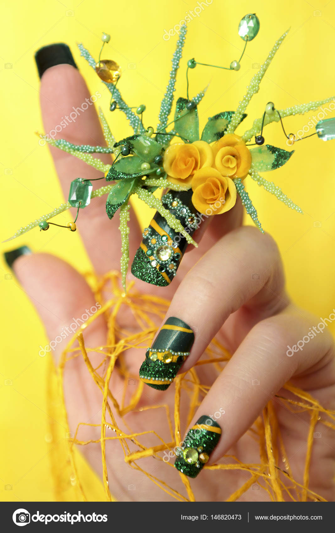 Design green acrylic nails with yellow roses . — Stock Photo ...