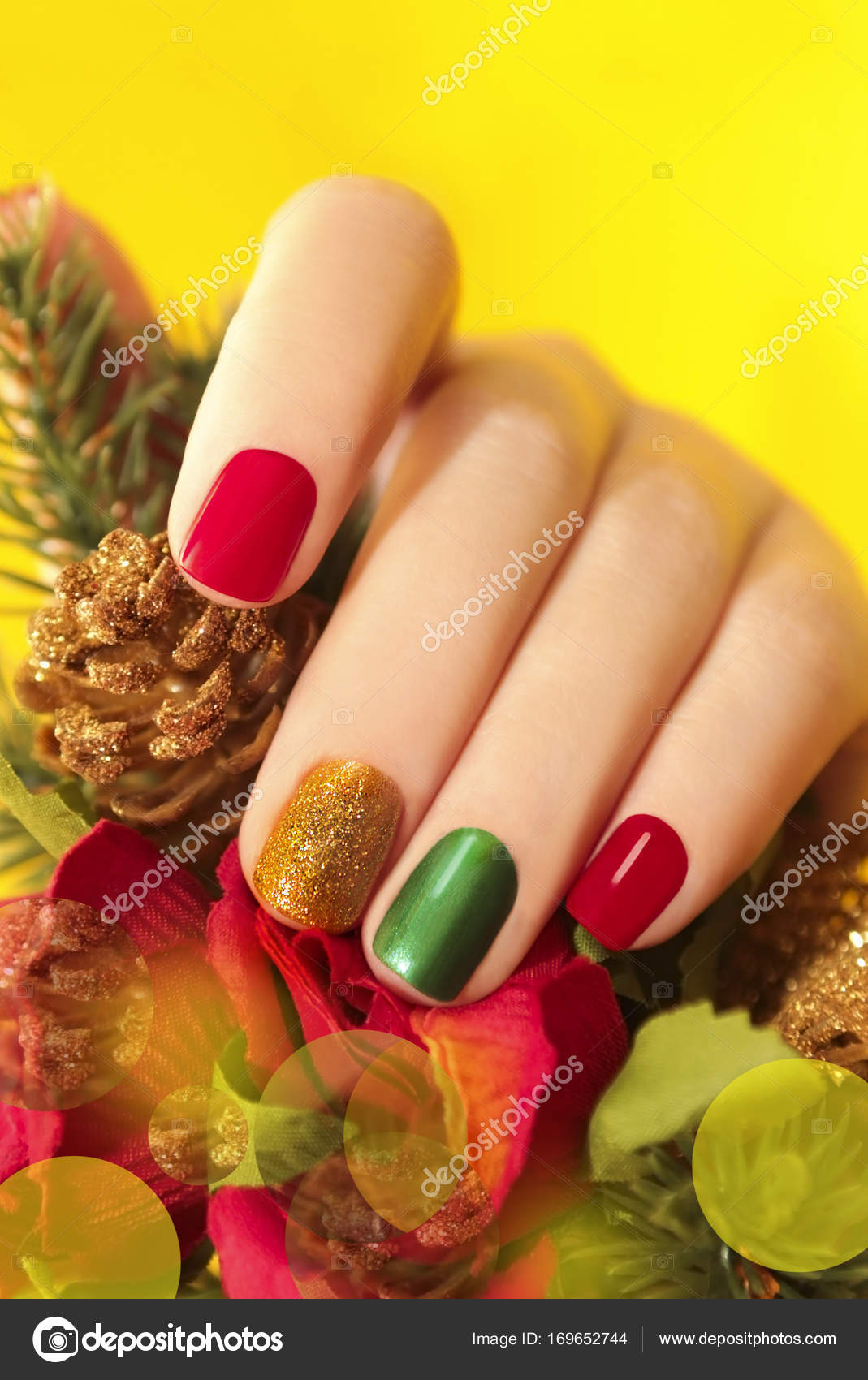 Multicolor manicure with red,green and yellow brilliant
