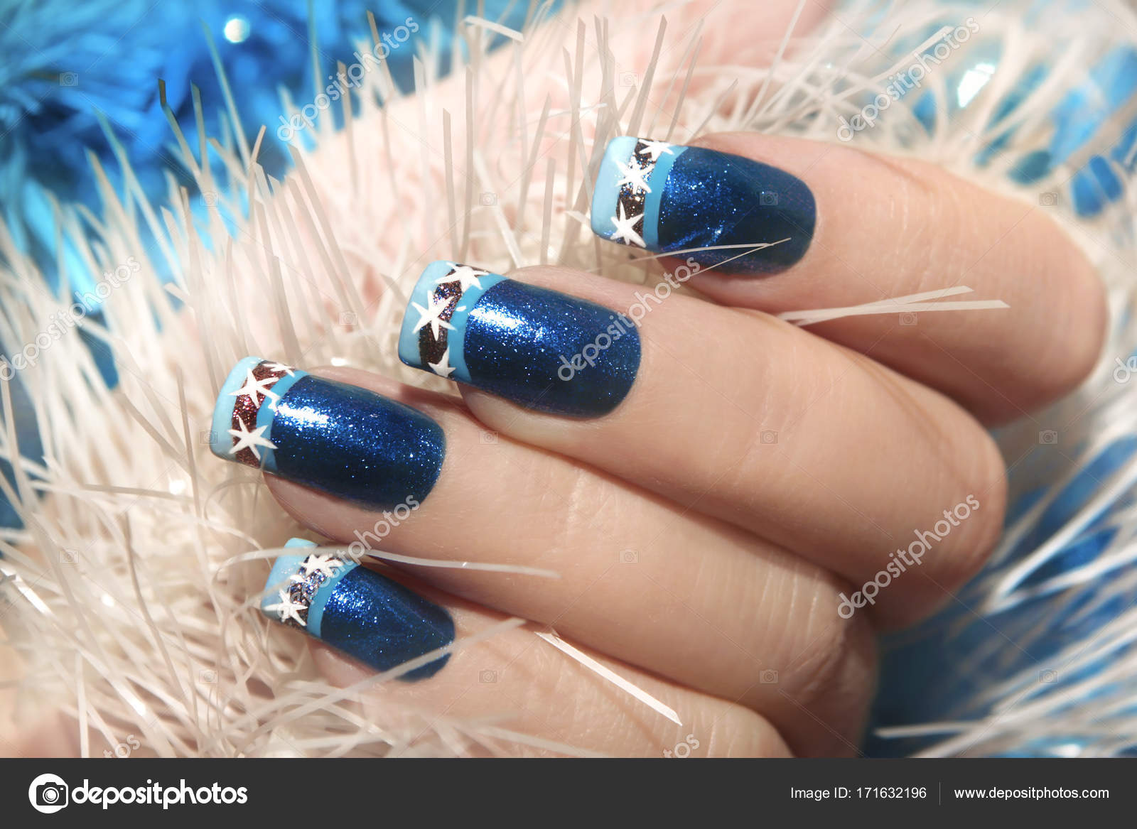 Christmas winter blue design French manicure with snowflakes ...
