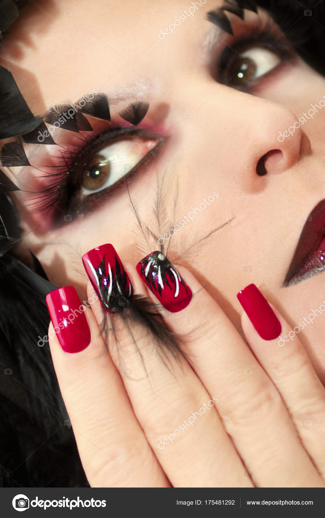 Black Red Make False Eyelashes Long Red Nails Design Black — Stock ...