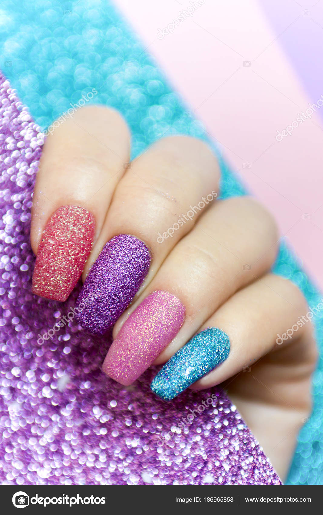 Design Long Nails Multicolored Sequin Closeup Nail Art — Stock Photo ...