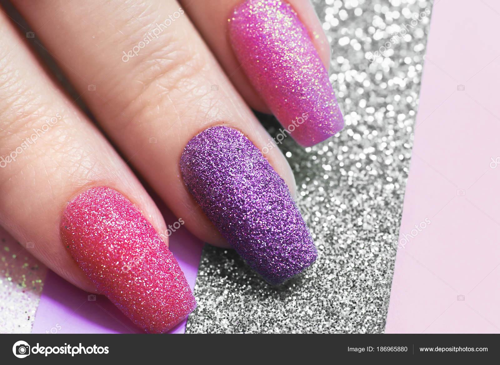 Design Long Nails Multicolored Sequin Closeup Nail Art Stock Photo