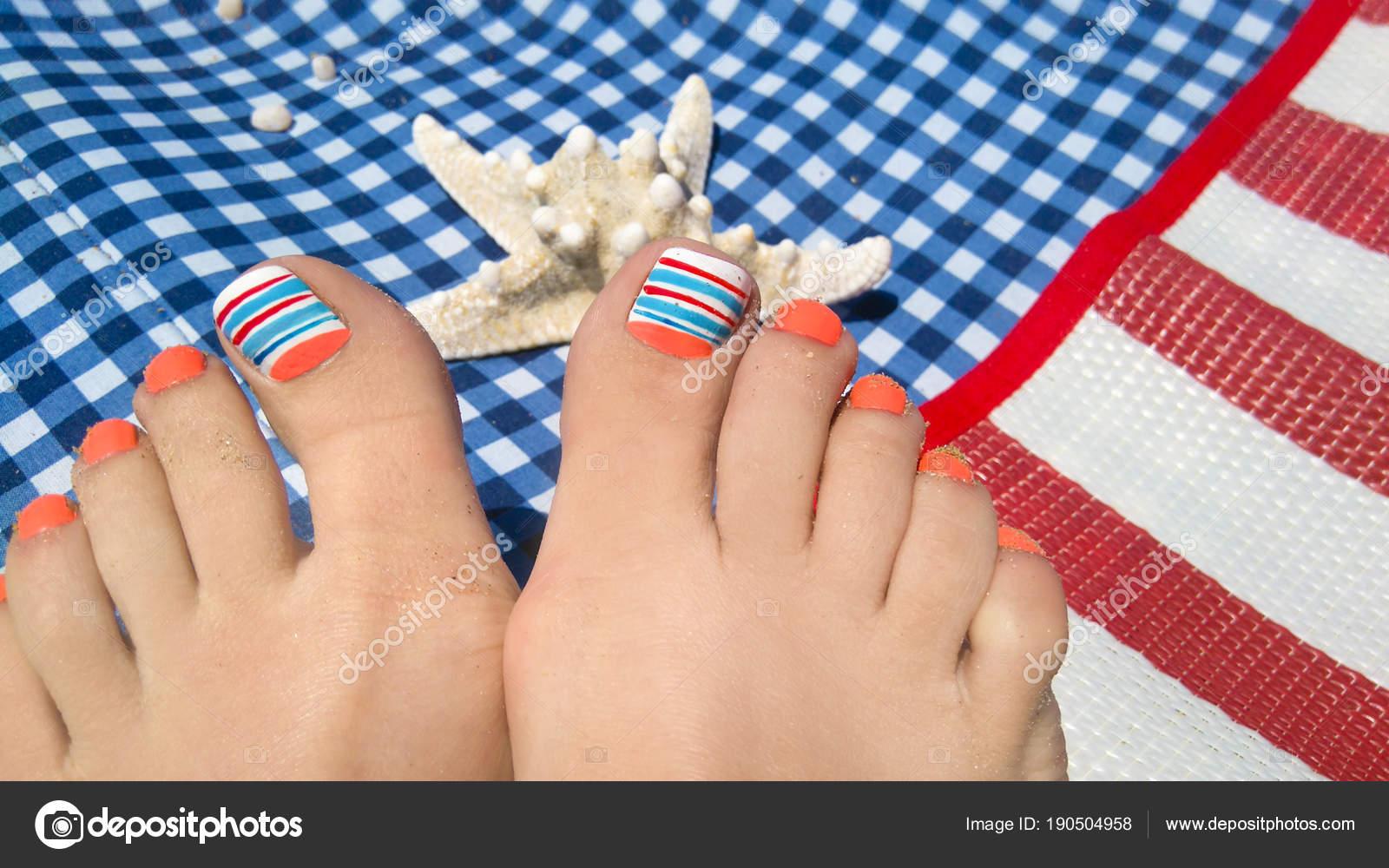 Marine Nail Design Pedicure Orange Blue Nail Polish Female Foot ...