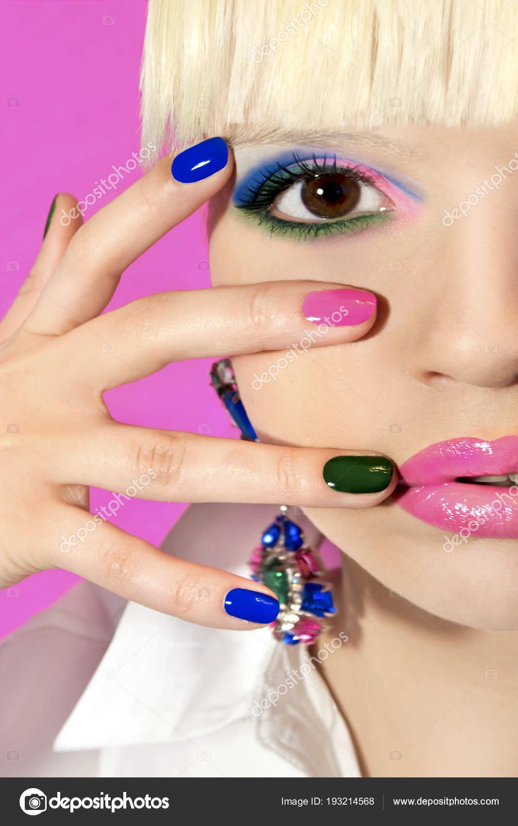 Fashionable Colorful Short Nail Art Design Female Hand Close ...