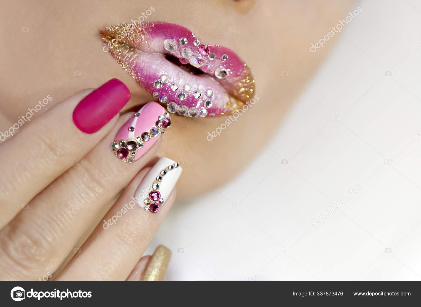 Creative Lip Makeup Trendy Nail Art Manicure Rhinestones Matte Nail Stock Photo C Marigo 337873476