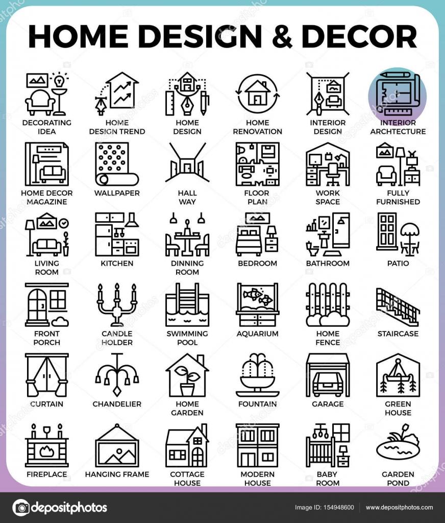 Huis ontwerp en Decor pictogrammen — Stockvector © nongpimmy #154948600