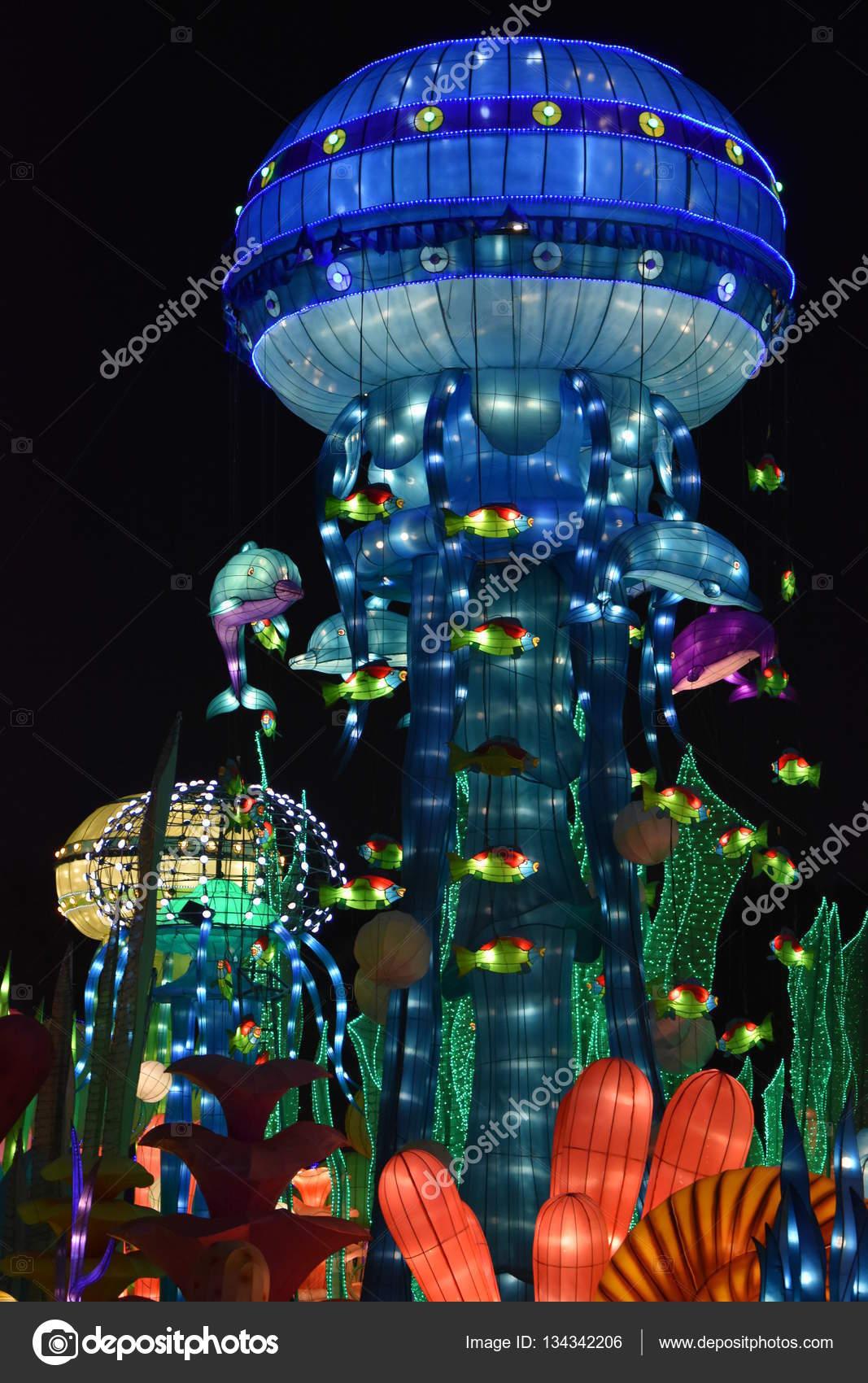 DUBAI, UAE   DEC 8: Dubai Garden Glow In Dubai, UAE, As Seen On Dec 8,  2016. It Is Spread Across 40 Acres, With 32 Installations Made By 150  Artists In ...