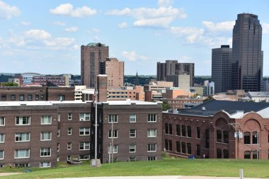 ST PAUL, MINNESOTA - JUL 29: Skyline of St Paul in Minnesota, as seen on July 29, 2017. It is the capital and second-most populous city of the US state of Minnesota.