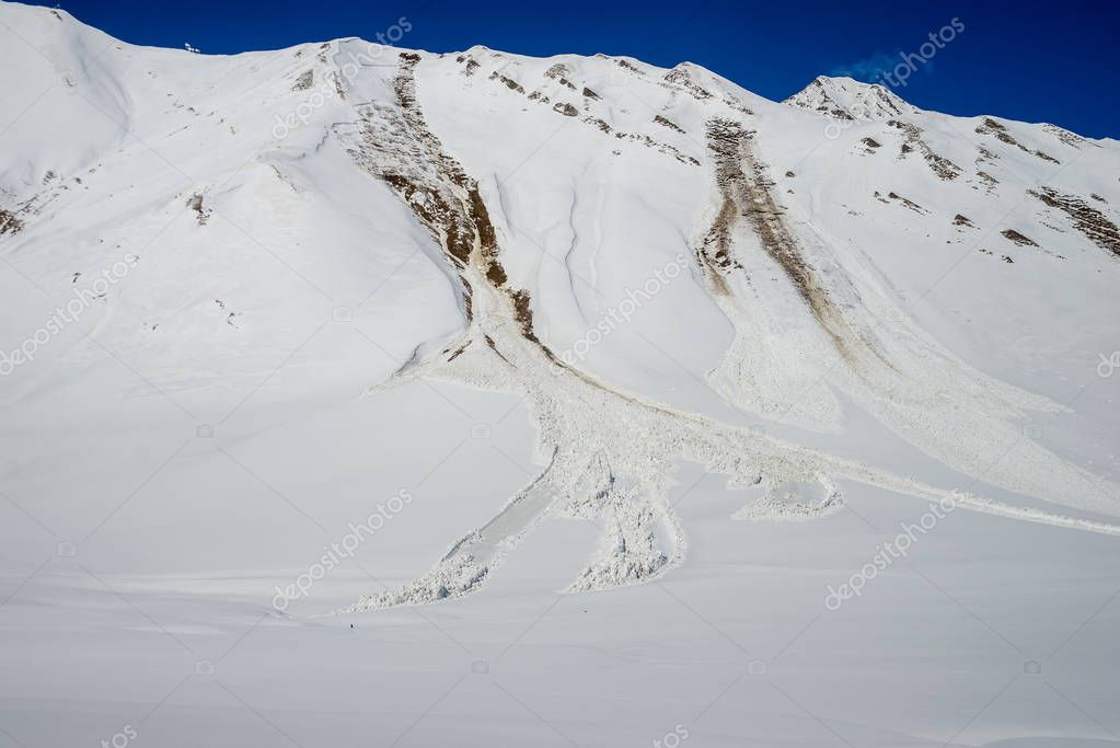 avalanche  in the Caucasian mountains