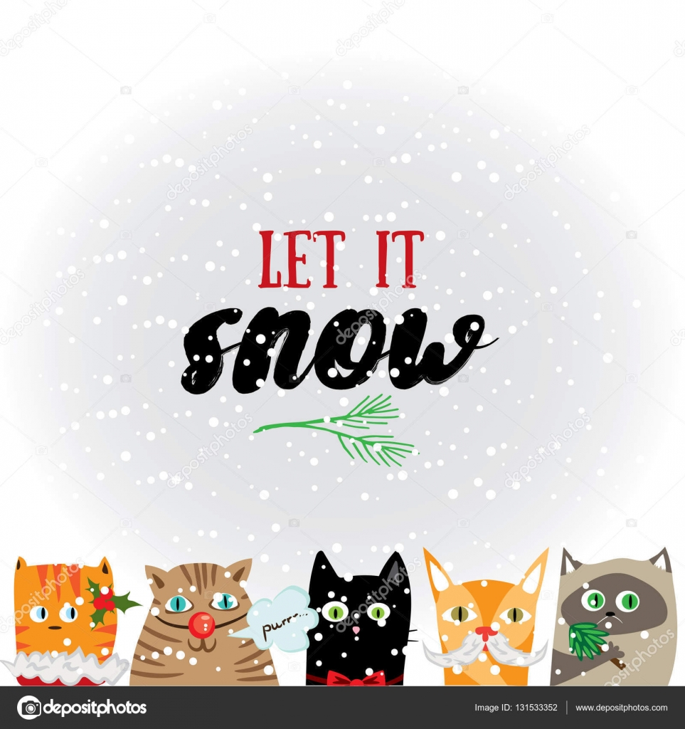 Let It Snow Holiday Greeting Card With Cute Cat Characters And