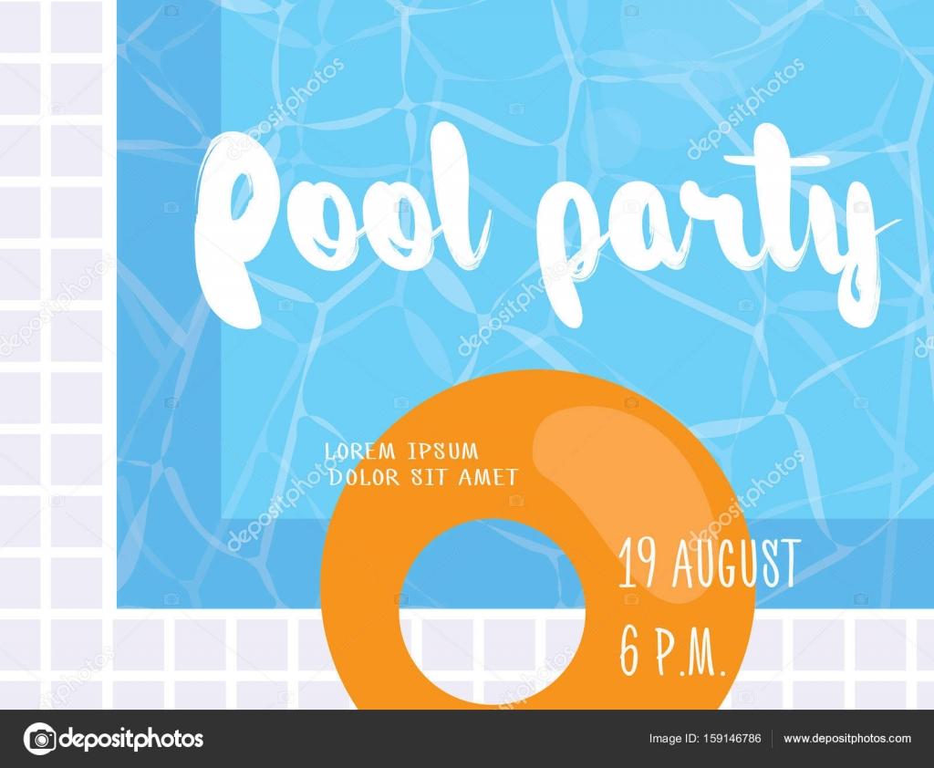 plantilla de diseño de cartel de fiesta de piscina. ilustración de