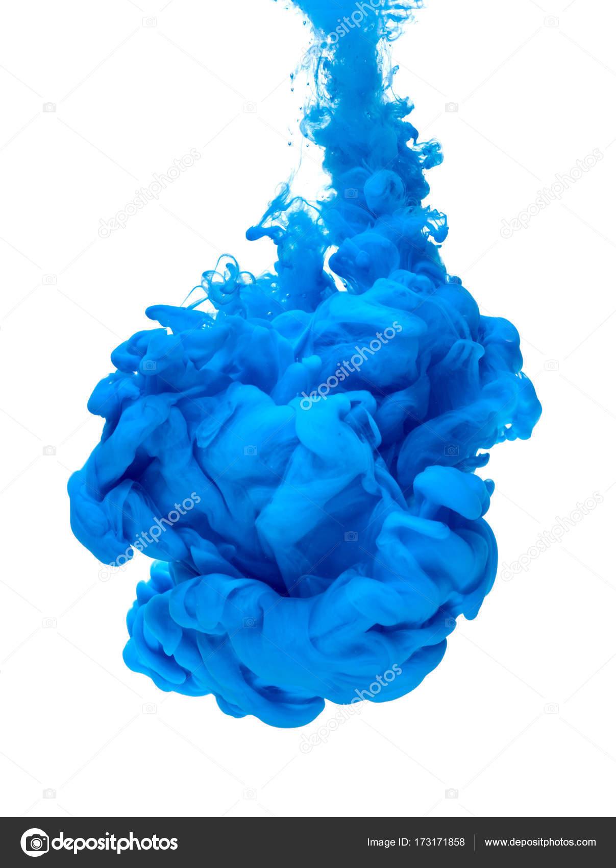 Splash De Pigment De Couleur Bleu Peinture Encre Photographie