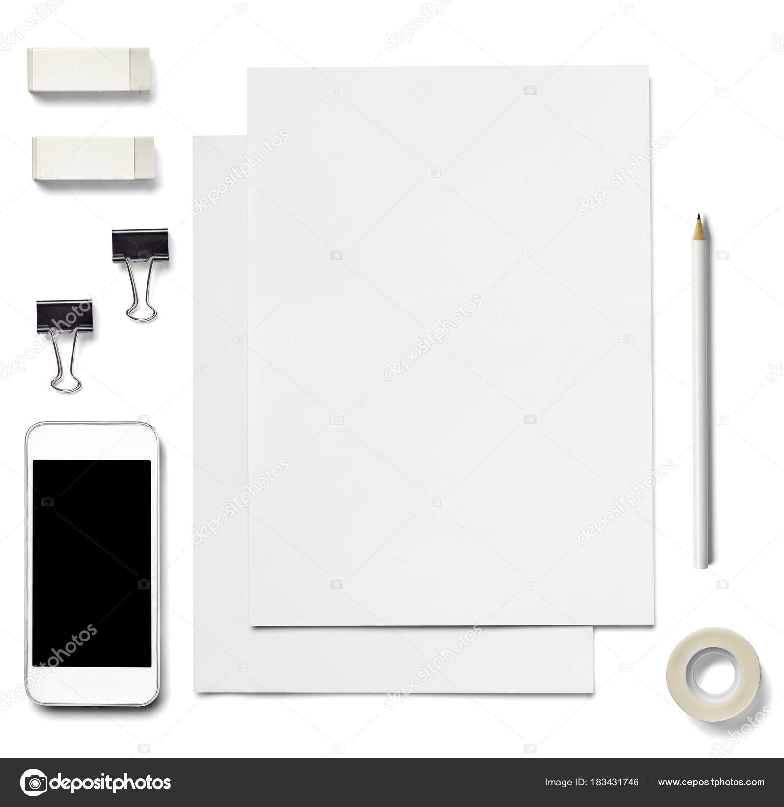 Envelope letter card paper mobile phone tablet template business collection of various white business print and phone pancil adhesive tape foldback clip templates on white background each one is shot separately spiritdancerdesigns Image collections