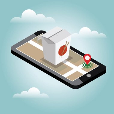 Isometric city. Food delivering. Wok. Mobile searching. Geo tracking. Map.Isometric city. Food delivering.