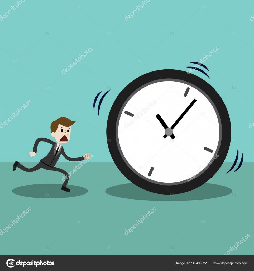 Hombre de negocios finales y funcionando con reloj o for El tiempo en st hilari sacalm